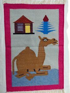 2x3 2x3 Pink Border Camel Rug / Wall Hanging Rug / Mirrored Rug / Decorative Rug