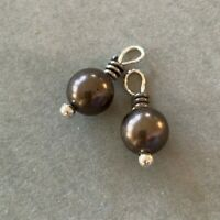 Brighton Grey Pearls with Silver Scrollwork for Earrings/Necklace Mini Lot of 2
