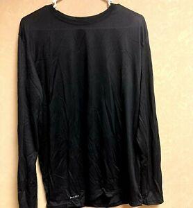 NIKE Dri-Fit Running/Training Long Sleeve Shirt Size XL TALL Solid Black $35 NEW