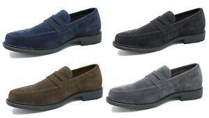 Mocassini uomo Class scamosciati Oxford scarpe eleganti blu nero marrone grigio