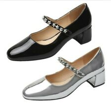 Ladies Block Heel Round Toe Ankle Strap Lolita Pumps Mary Janes Shoes Outdoor B
