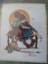 Dimensions Counted Cross Stitch Embroidery Kit Norman Rockwell Spooners Vtg 1982