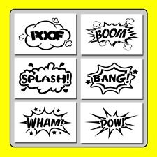 Set of 6 (4 X 6) COMIC Book Bubbles STENCILS Poof/Boom/Splash/Bang/Wham/Pow