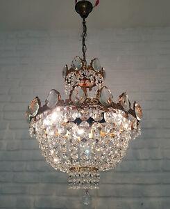 Antique Vintage Brass & Crystals  Chandelier Lighting Ceiling Lamp Light