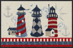 Ab Lager Fußmatte Salonloewe Faro Leuchtturm ca.50x75cm waschbar Matte Efia