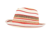 Wigens NWT Trilby Hat in White, Brown, Tan & Red Striped Size L, 59, 7 & 3/8ths