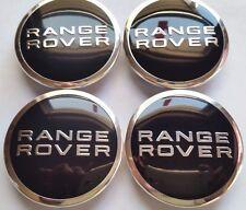 Land Rover, 4 X, Center Cap, HubCap, Black, Range Rover, Chrome Logo, 63MM, # 4