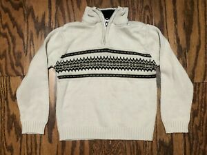 Boys Size 4 Beige High Neck, 1/4 Zip Sweater