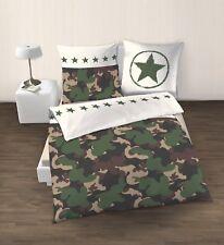 cc9d5447596e85 Camouflage Sterne Fein Biber Bettwäsche Set grün khaki - 80x80 + 135x200
