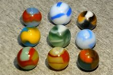 """Lot of 9 Marbles by Peltier Glass Co. - NLR, RAINBO, DRAGON, PATCH .71"""" & under"""