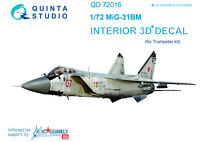 Quinta QD72016 1/72 MiG-31BM 3D-Printed & coloured interior (for Trumpeter kit)