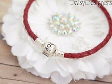 NEW Authentic PANDORA Sterling Silver RED BRAIDED LEATHER Bracelet Large 8.1 RET