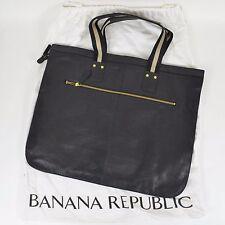 BANANA REPUBLIC $278 Black Leather Flat Brief Case Attache Tote Purse