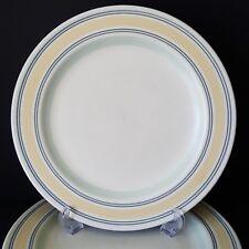 Pfaltzgraff Key Largo 7 Dinner Plates White Center Yellow Blue Green Bands Nice