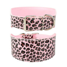 """3.0"""" Wide Luxury Plain PU Leather Dog Collars For Medium Large Dogs 4 Colors"""