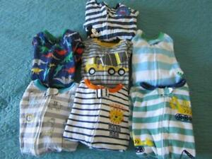 Lot of SEVEN  Boys SLEEPERS Pajama's Blanket Zippered  Footed  Sz 18 Mo Carter's