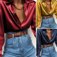 Ladies Faux Satin Tops Long Sleeve Collar Shirt Women Formal OL Blouse Plus Size
