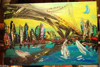 BROOKLYN  Original Oil Painting Contemporary Wall Abstract  ON CANVAS Art NU807