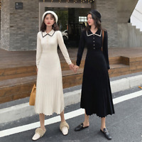 Autumn Winter Womens Long Sleeve Slim Pleated Slim Knit Sweater Basic Midi Dress