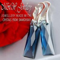 925 Silver Earrings Crystals From Swarovski® 25mm QUEEN BAGUETTE - Montana
