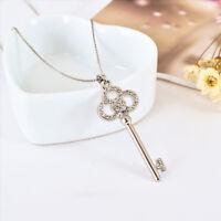 New 18K White Gold Filled Lab Diamond Crystal Key Pendant Charm Necklace Jewelry