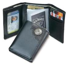 Officially Licensed Jack Daniels Black Trifold wallet with metal logo Black
