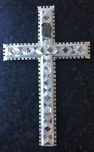ANTIQUE OLIVE WOOD & MOP CRUCIFIX WITH 14 STATIONS OF THE CROSS FROM JERUSALEM