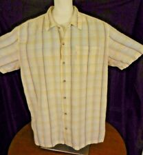 Columbia Mens Short Sleeve, Yellow, Orange, and Blue Plaid Camp Shirt Size XL