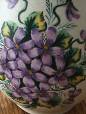 More details for axe vale pottery devon base rustic pretty floral purple flowers hand painted
