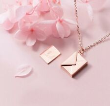 -we❤- 925 Sterling Silver Rose Gold Necklace Letter Love You Note Luxury