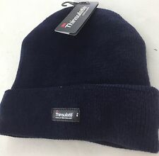 3M Thinsulate Acrylic Beanie Navy Rib Knit Warm Thermal Winter Hat Cap Ski Work