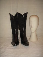 BARNEYS NEW YORK BLACK COWBOY BOOTS WOMEN SIZE 38