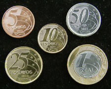 BRAZIL 1 SET OF 5 CENTAVOS REAL COINS - EURO PATTERN - UNCIRCULATED 2011-2012