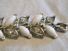 Rhinestones White Cabachons Beautiful Silver Bracelet