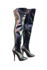 PLEASER High Heel-Overknee-Stiefel schwarz Lack Stretch,Stiletto 15 cm Gr.36-48