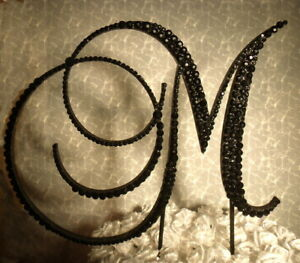 "Handmade Black Crystals 5"" Wooden Wedding Cake Topper  Letter ""M"""