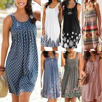 Plus Womens BOHO Summer Beach Holiday Midi Tank Dress Sleeveless Loose Sundress