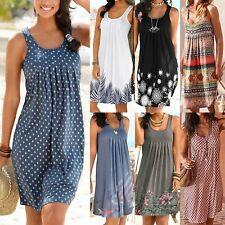 Women Boho Summer Beach Midi Dress Ladies Sleeveless Loose Sundress Plus Size AU