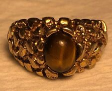 Mens Vintage TIGERS EYE Gold Plate Ring Size 11.5