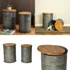 New listing Galvanized Metal Storage Stool with Solid Wood Seat (Set of 2)