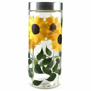 Grant Howard 39517 72 Ounce X Large Hand Painted Sunflower Round Storage Jar