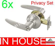 Freeshipping!6xDoor handles!lever handles!lock -Privacy set-Satin finish(6591)