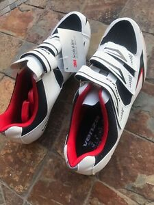 Venzo MX Men's Road Cycling Riding Shoes - 3 Straps Size 10 Black White And Red