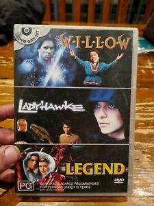 3 DVD SET - WILLOW - LADYHAWKE - LEGEND - Pal Region 4