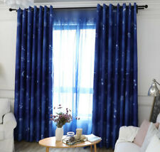 High Shading Cloth Curtain Shades Dreamlike Blue Sheer Tulle Constellation Print
