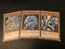 YUGIOH TCG: BLUE-EYES WHITE DRAGON - 3-CARD SET - LDK2-ENK01 COMMON 1ST EDITION
