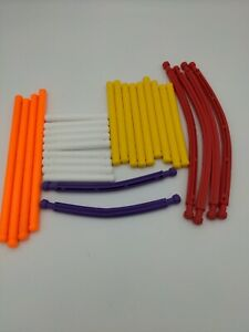 Plastic Tinker Toys 28 Part Lot:Rods 9 White, 9Yellow, 4Orange Replacement Piece