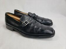 HERMES Black Leather Split Toe H Buckle Loafers Shoes sz 43.5 US 10.5