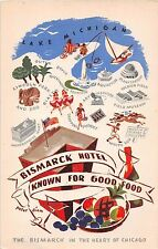 IL postcard Chicago Bismarck Hotel Known for Good Food picture map advertising