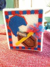 Vintage Football Red White And Blue Yarn Plastic Canvas Tissue Holder Coazie
